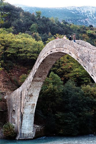 The Bridge of Plaka at Tzoumerka Epirus, Greece, was the largest one-arch bridge in Greece and the Balkans, and the third largest in Europe. It was built upon the order of Ottoman Sultan Abdülaziz, and was completed in 1866. Between 1880 and 1912, the bridge marked the border between the Kingdom of Greece and the Ottoman Empire. Read more about it at http://en.wikipedia.org/wiki/Plaka_Bridge