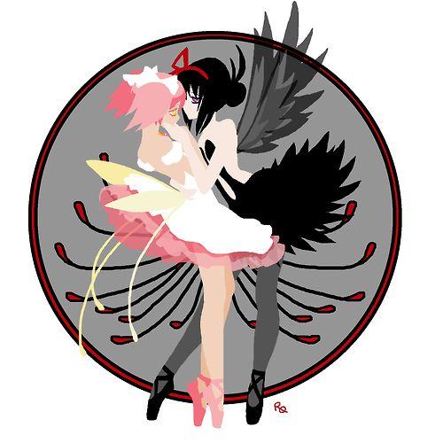 Puelle Mahou Magica Madoka - Homura Akemi Demon with Goddess Madoka with a Princess Tutu influenced fanart