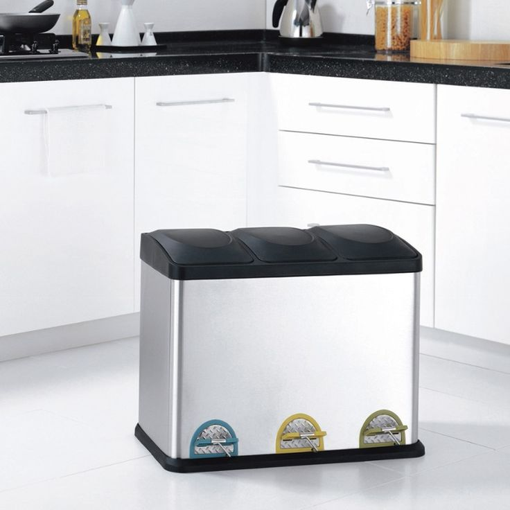 Eco-friendly three compartment stainless steel step-on recycling bin Features:  Sleek design with black accent for your room?s style  Separate your recycling needs with divided sections  Easy to use large colored foot pedal makes it convenient  Removable bins