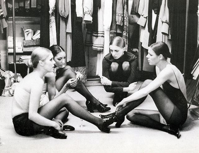 Models backstage at a Jean Muir show in 1970. Including Joanna Lumley.