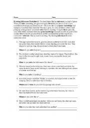 English worksheet: Drawing Inferences