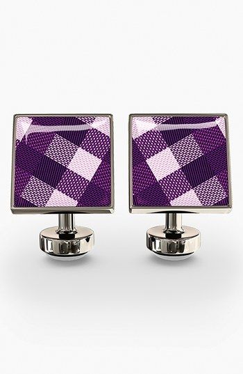 Würkin Stiffs Check Cuff Links. A bold resin inlay adds color to sharp cuff links formed from high-shine stainless steel.