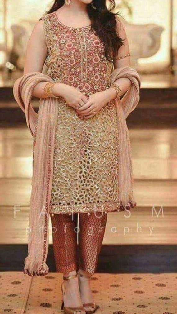 Neue Ankunft braun/Gold Shalwar Kameez, Indische/pakistanische formale Shalwar Kameez, Hochzeitskleid, Braut Outfits, bengali Kleid