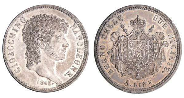 Italie - Royaume de Naples et des deux Siciles - Joachim Murat - 5 lire 1813