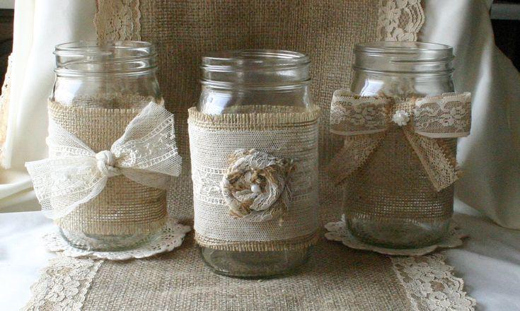 Burlap wedding, VINTAGE lace wedding JARs, Burlap wedding decorations, rustic farm house, shabby chic, country wedding. $25.00, via Etsy.