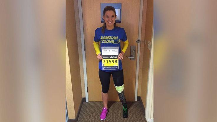 Boston Marathon Bombing Survivor Rebekah Gregory  Crosses Finish Line : abc - 4/20/15 #Boston_Marathon