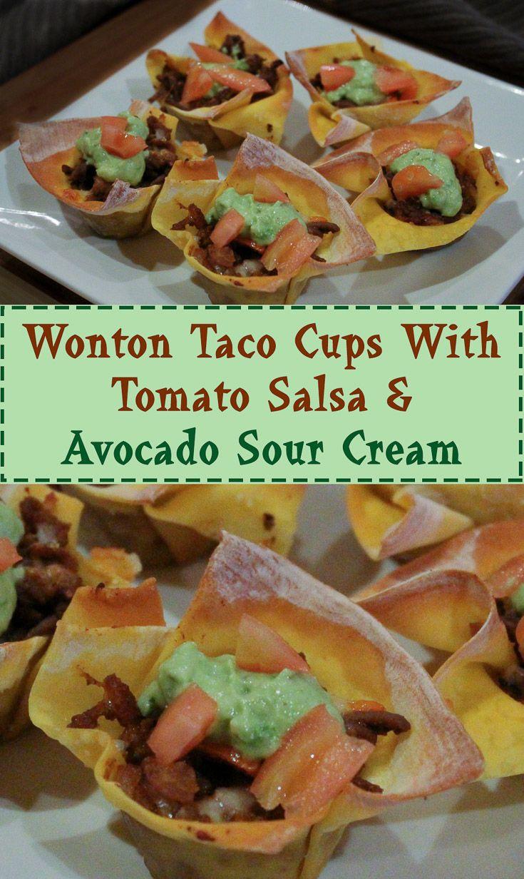 Wonton Taco Cups With Tomato Salsa & Acocado Sour Cream