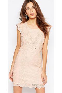 Vila Cutwork Lace Bodycon Dress - Pink #modasto #giyim #moda https://modasto.com/vila/kadin/br27421ct2