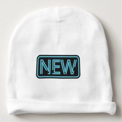 """New"" Neon Sign Baby Beanie - newborn baby gift idea diy cyo personalize family"