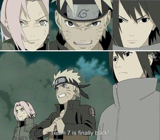I love how sakura and naruto are smiling and sasuke is ...