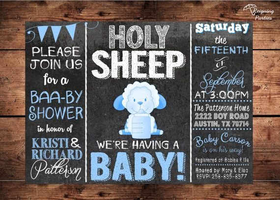 Holy+Sheep++Baby+Shower+Invitation++Lamb+Theme+by+ReigningParties,+$20.00