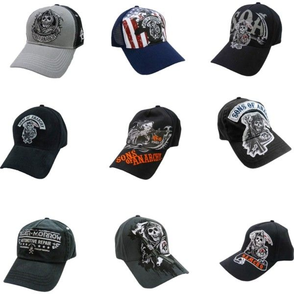 """Sons of Anarchy Ball Caps"" by calhounsports on Polyvore"