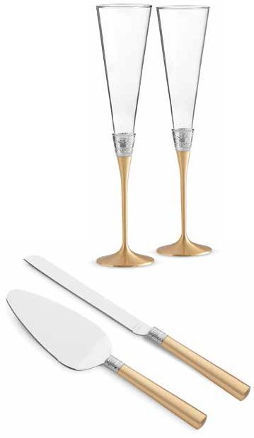 Contemporary champagne flutes and matching wedding cake serving set. | Vera Wang: With Love Gold Toasting Flutes and Cake Knife Server Set