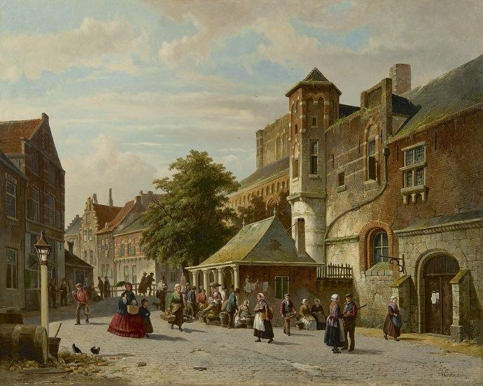 Adrianus Eversen (Amsterdam 1818-1897 Delft) A town view with a fish stall - Dutch Art Gallery Simonis and Buunk Ede, Netherlands.