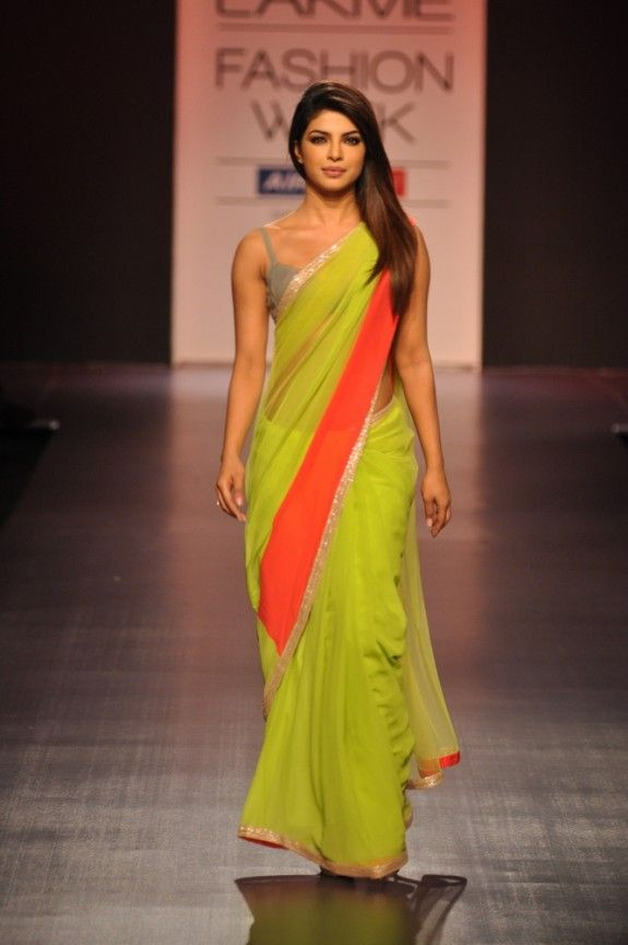 Priyanka Chopra in a Manish Malhotra saree at LFW 2013 #lime #orange