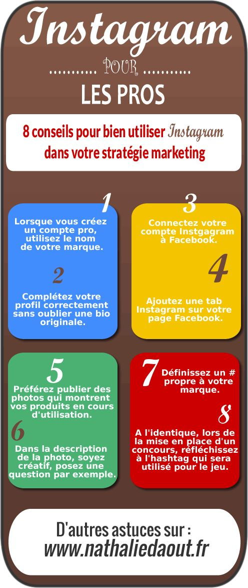 Quelques conseils marketing pour Instragram. www.nathaliedaout... #infographie #nathaliedaout