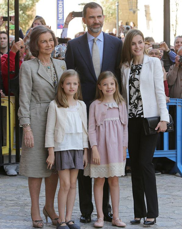 Queen Sofia (former), King Felipe and Queen Letizia of Spain attend Easter Mass at the Catheral in Palma with the Princess of Asturias and Infanta Sofia 4/5/2015