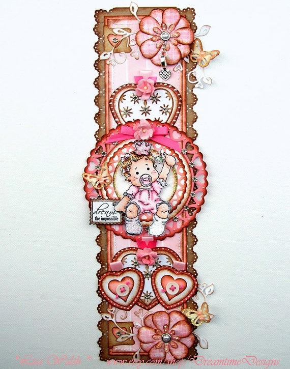 Magnolia Tilda Papercraft Design - Premade Baby Girl Scrapbook Vertical Border - DreamtimeDesigns