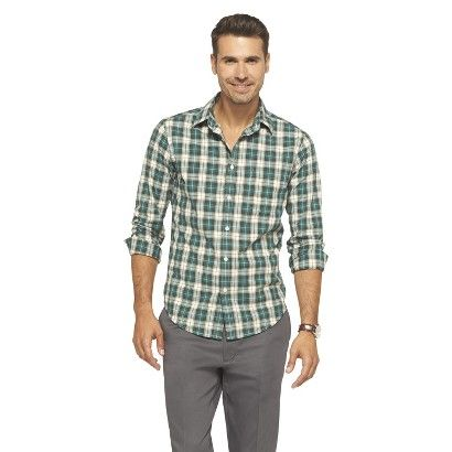 Merona Men's Plaid Shirt - Green