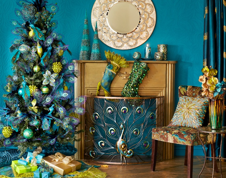 Love The Peacock Christmas Decor Neat Ideas Pinterest Fireplace Grate Fireplaces And