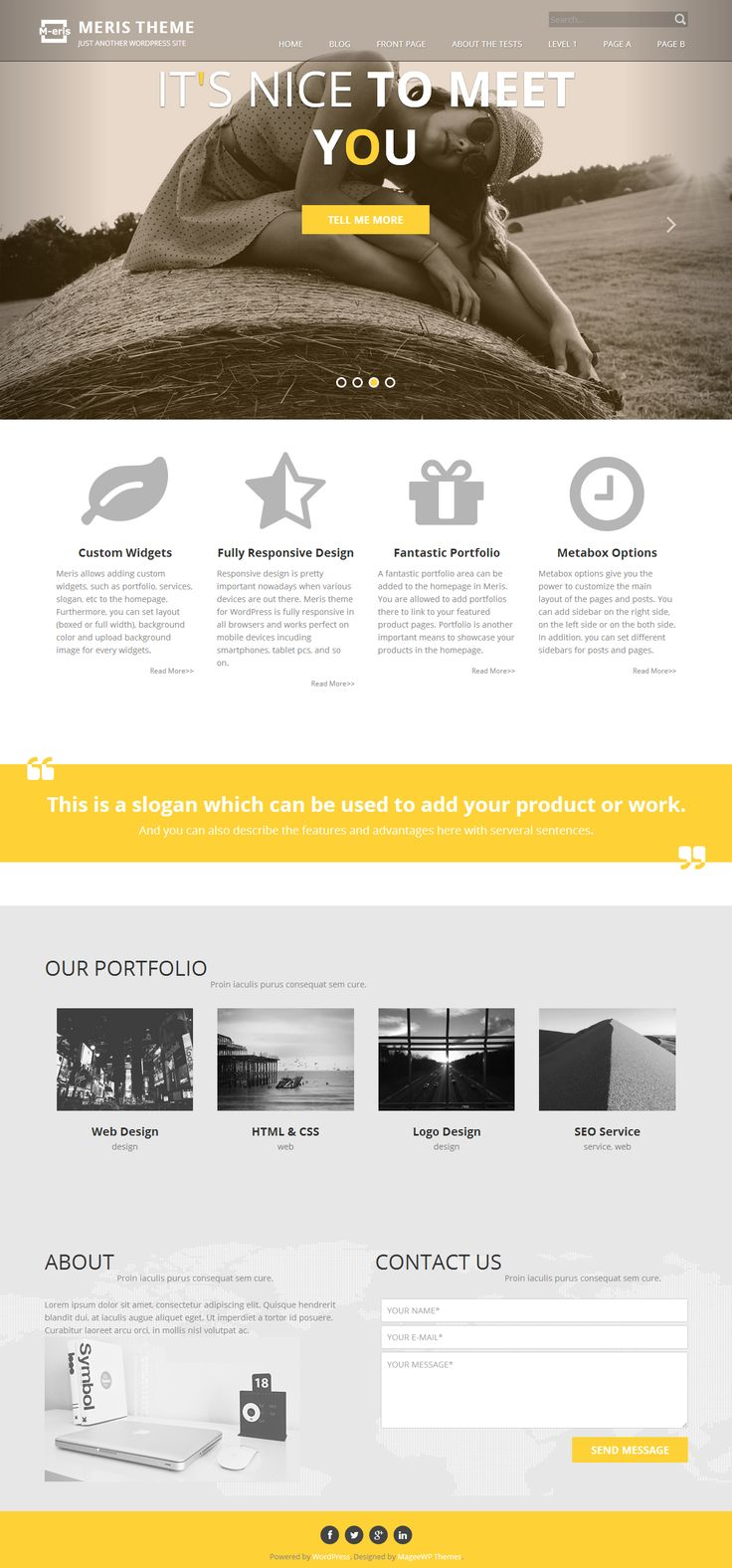 http://wpthemess.net/meris/ Meris is a new free #WordPress theme for Personal and corporate Websites