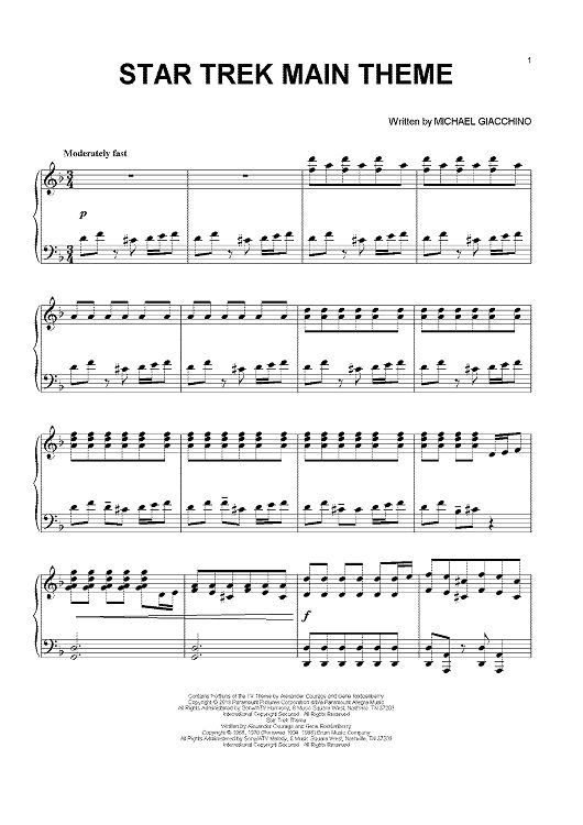 Star Trek Main Theme Sheet Music: www.onlinesheetmusic.com. I just purchased this book, this is all I play now, move over Grieg and Bach! Michael Giacchino, welcome!