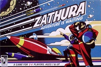 Based on the movie, players race to reach the planet Zathura. The game is a replica of the one in the film in many ways, incorporating a turn key which produces game cards, a robot which is moved along the board to thwart player progress, and a house puzzle which comes apart.
