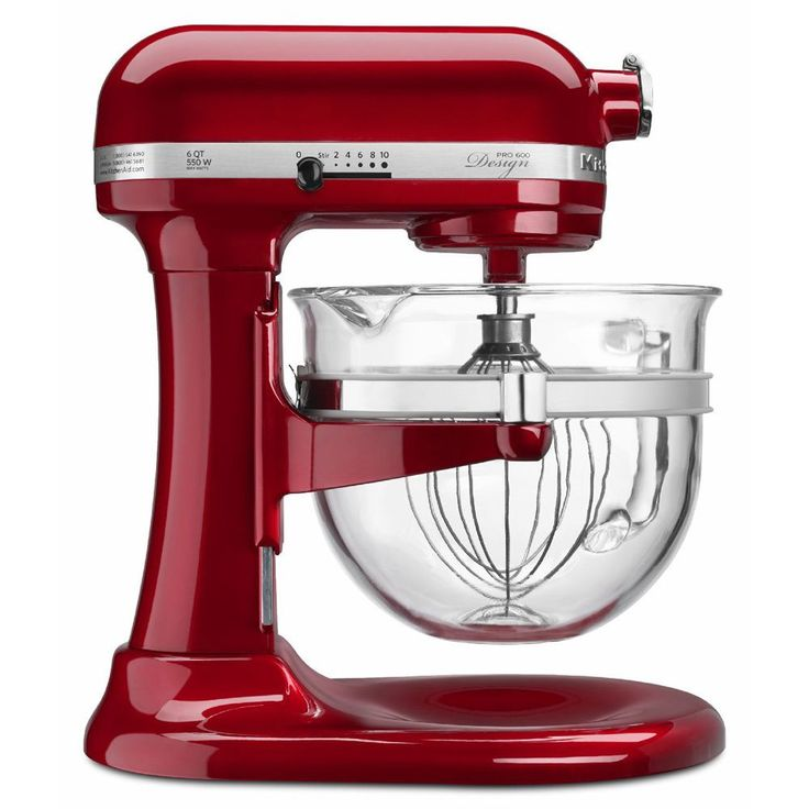 In a glossy candy apple red color, this Kitchenaid professional 600 Design series mixer efficiently kneads and whips up many different ingredients--wet or dry. This mixer's bowl-lift design provides sturdy bowl support for stability.