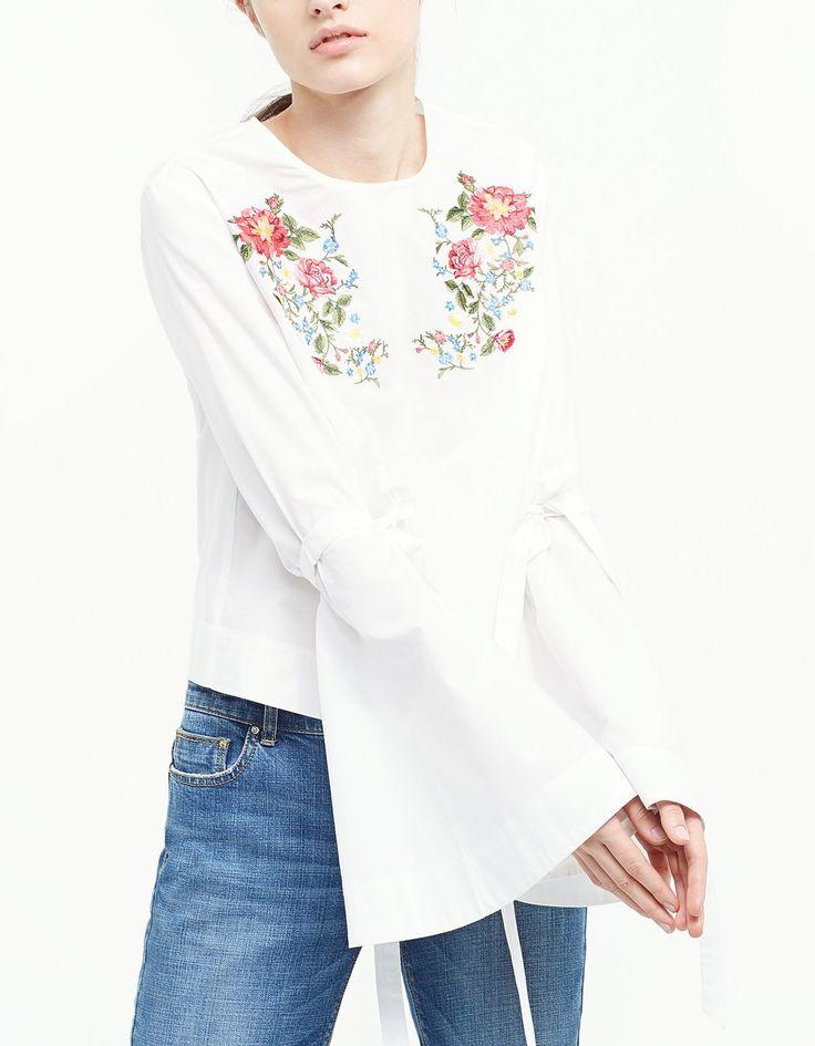 Embroidered flared sleeve shirt - Shirts | Stradivarius Hungary