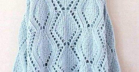 Yazlık şemalı merserize örgü kazak modeli