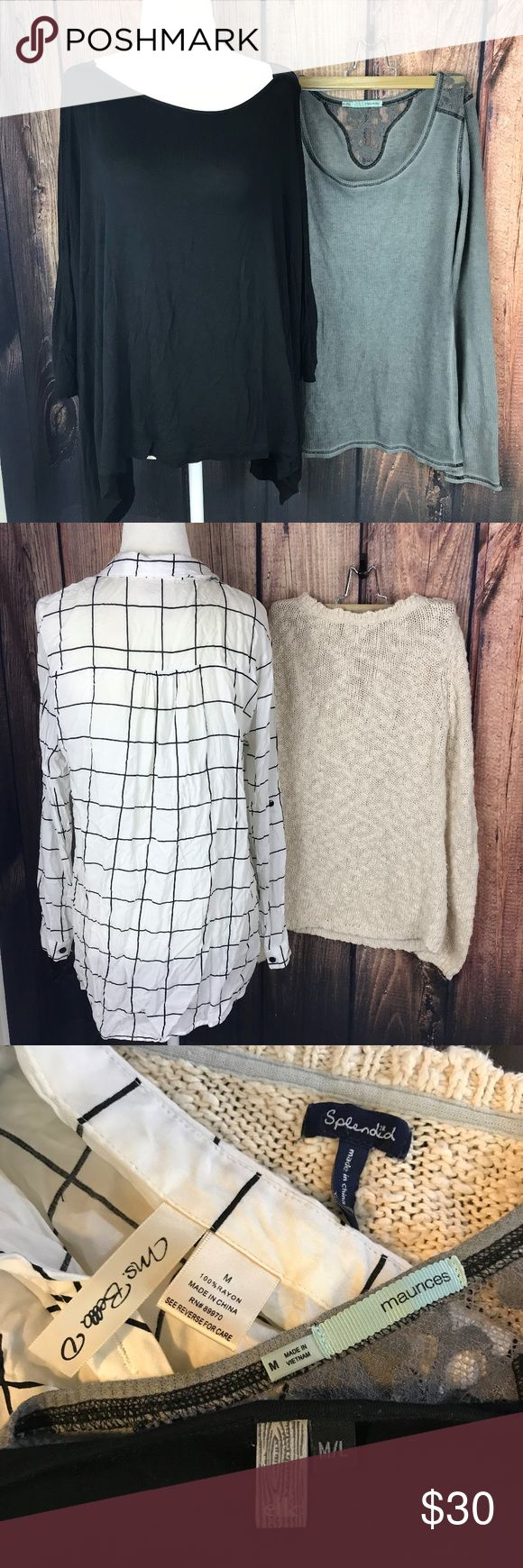 Lot of 4 Size Medium Tops Batwing Neutrals Long Gently Used, all no flaws, except for the splendid knit top, it has a light stain on the front. All size medium, batwing top M/L Splendid Tops Tees - Long Sleeve