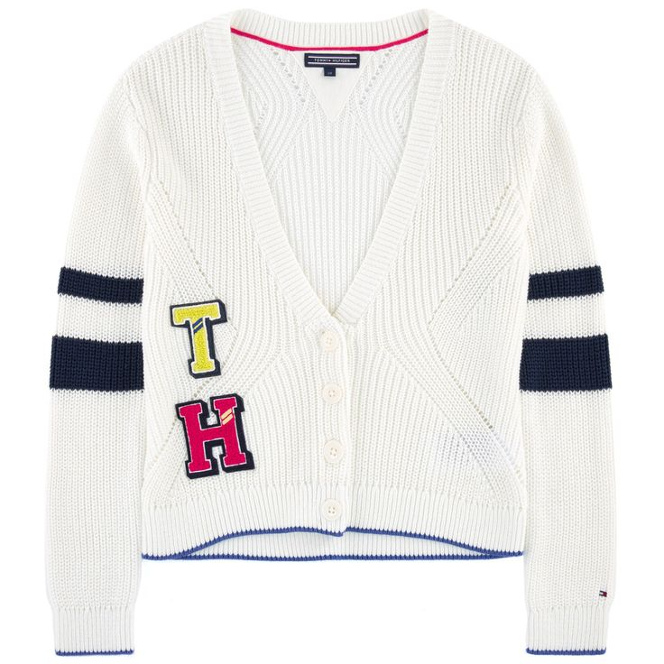 Cotton knit  Thick knit V neckline Long sleeves Stripes Logo buttons Appliqué letters on the chest - 51,00 €