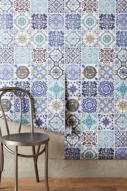 Rinnie Mosaic Wallpaper - anthropologie.com #anthrofave (Blue tiles) Blue tile inspirations...