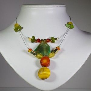 Lovely colourful semi precious stone necklace with Swarovski crystals