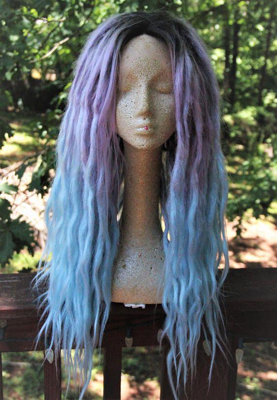 Lavender & Blue Pastel Ombre Lace Front Dreadlock Wig