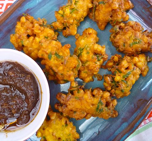 Indian corn fritters with coriander and red onion - pakoras