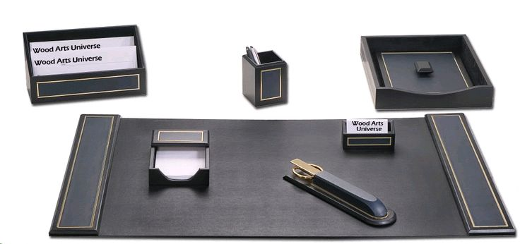 Navy Blue  Leather 24kt Gold Tooled 7 Piece Desk Set  WAUCUSTD50040  #christmasgifts   http://woodartsuniverse.com/catalog/product_info.php?cPath=42&products_id=599