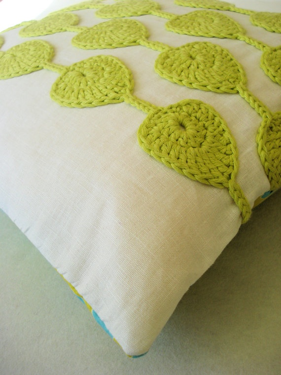 White and lime green crochet cushion cover by PukaluHome on Etsy, $70.00