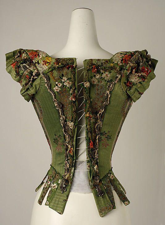 Silk embroidered bodice. 18th Century.