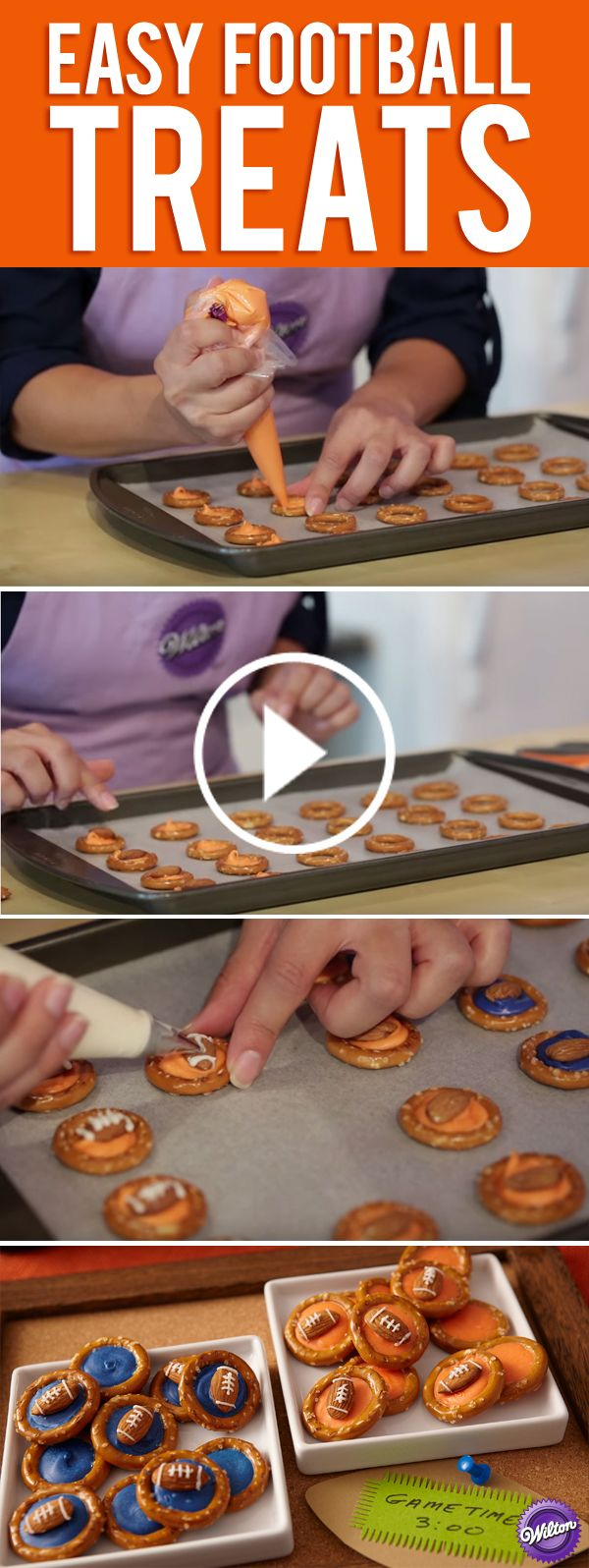 During the game, everyone will be huddling up to snack on these sweet and salty treats! An almond football goes over the middle of a pretzel ring, with easy-melting Wilton Candy Melts filling the gap in your favorite team colors (we went with blue and orange here).