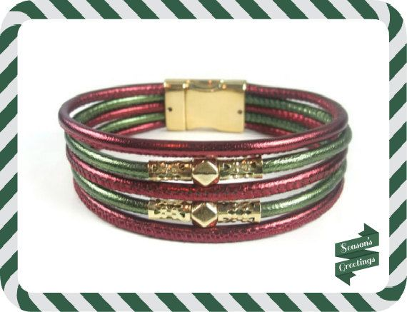 Red Green Christmas Leather Bracelet by RealLeatherBracelets