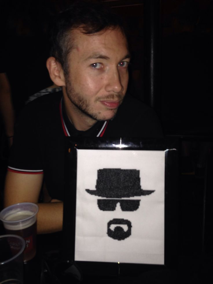 Breaking Bad, Heisenberg cross stitch finished for my friend's birthday