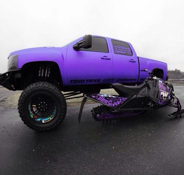 Well.... Livin in Oklahoma I don't need a snow mobile lol. But I would take that purple duranax in a heartbeat!! Favorite color! :)