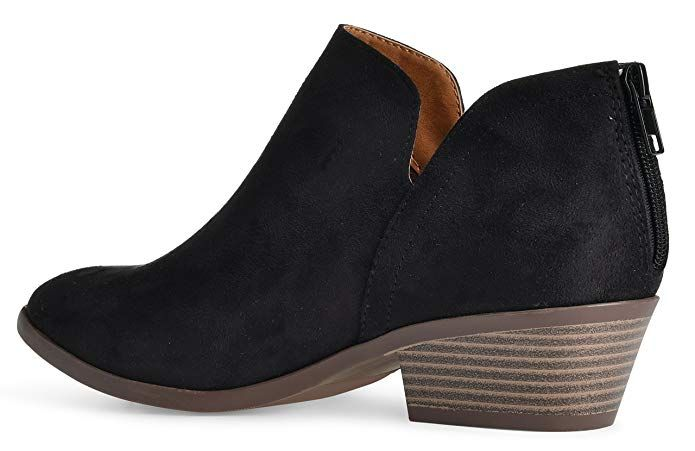 926ee63d4f3 Amazon.com | Women's Madeline Western Almond Round Toe Slip on Bootie - Low  Stack Heel - Zip Up - Casual Ankle Boot | Ankle & Bootie
