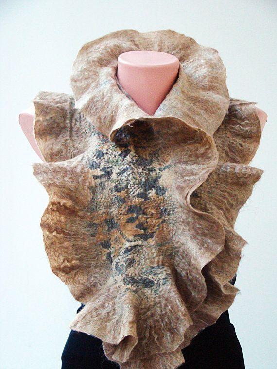 Pin By Molly Boyd On Tattoo Ideas: Nuno Felted Scarf .Wool Silk Art Scarf. Organic Eco Scarf