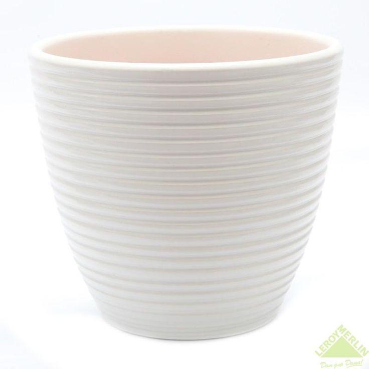 Горшок керамический с поддоном Спираль, диаметр 15 см, 1,3 л, цвет белый