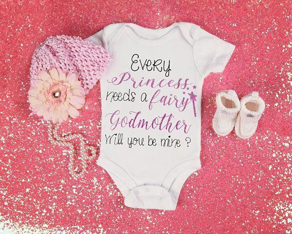 Be My Fairy Godmother Bodysuit and Fairy Godmother T-Shirt. What a perfect way to ask that special someone to be your babies godmother! The Fairy Godmother T-Shirt is a perfect gift to reward your babies godmother for being an amazing role model to your child! Bodysuits are available