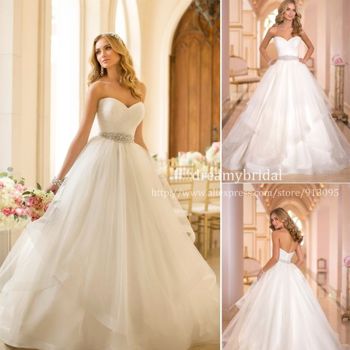 Custom Made 2014 New Princess Sweetheart Tulle Sashes Elegant ball gown Wedding Dresses vestido de noiva Plus Size Free Shipping $219.99