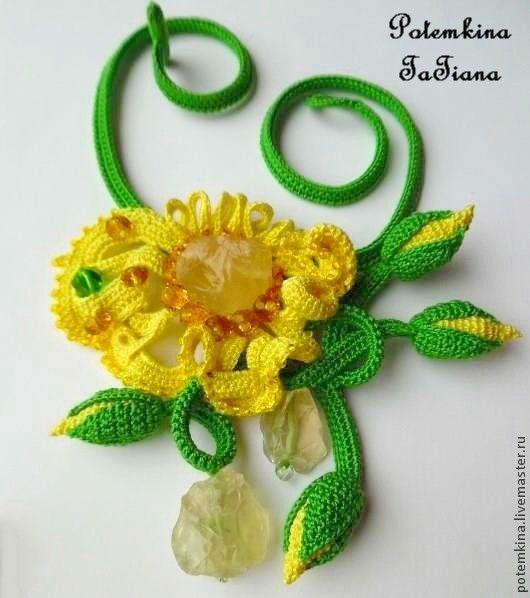 """Купить Колье """"Фея Первого Лютика"""" - ярко-зеленый, ярко-желтый, лютики, лютик, весна"""