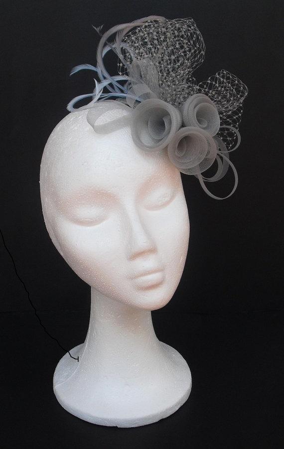 Grey+fascinator+headpiece+/++Grey+hat++/+++Weddings++by+TocameMika,+$76.00